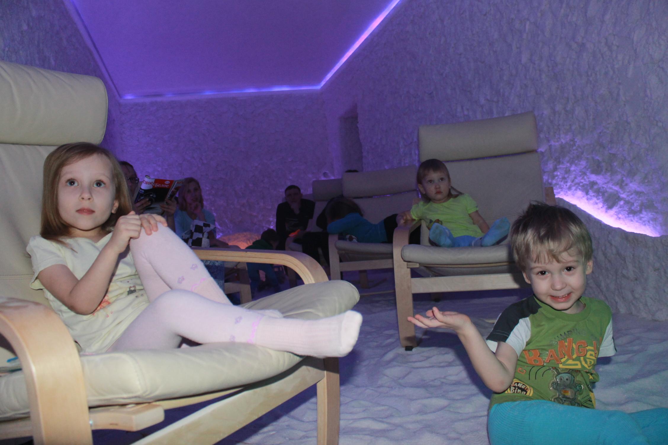 Фото детей в соляной пещере